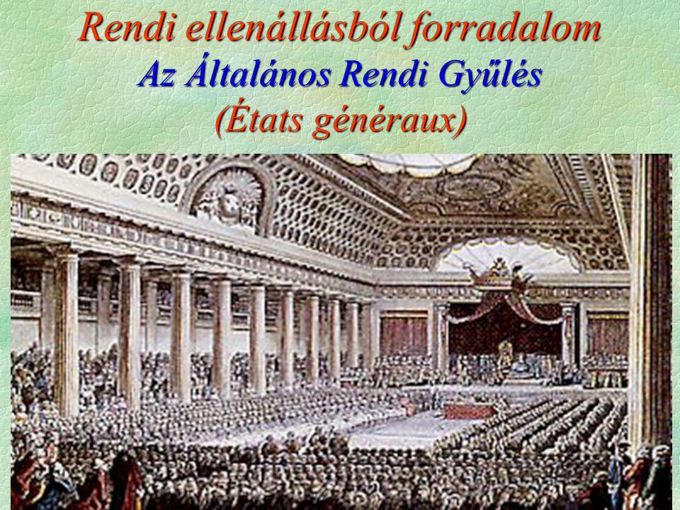 Rendi ellenállásból forradalom Az Általános Rendi Gyűlés (États généraux)
