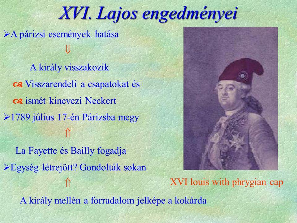 XVI. Lajos engedményei  A párizsi események hatása  A király visszakozik  Visszarendeli a csapatokat és  ismét kinevezi Neckert  1789 július 17-é