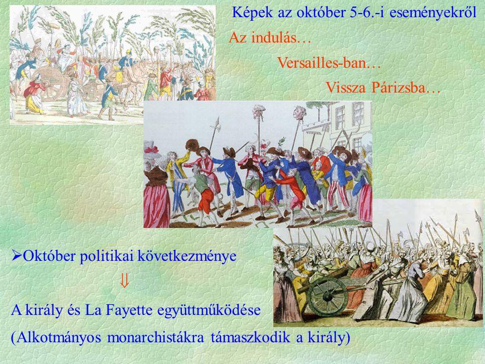 Képek az október 5-6.-i eseményekről Az indulás… Versailles-ban… Vissza Párizsba…  Október politikai következménye  A király és La Fayette együttműködése (Alkotmányos monarchistákra támaszkodik a király)