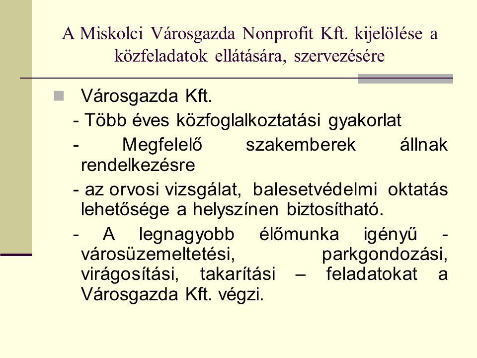 A Miskolci Városgazda Nonprofit Kft. kijelölése a közfeladatok ellátására, szervezésére Városgazda Kft. - Több éves közfoglalkoztatási gyakorlat - Meg