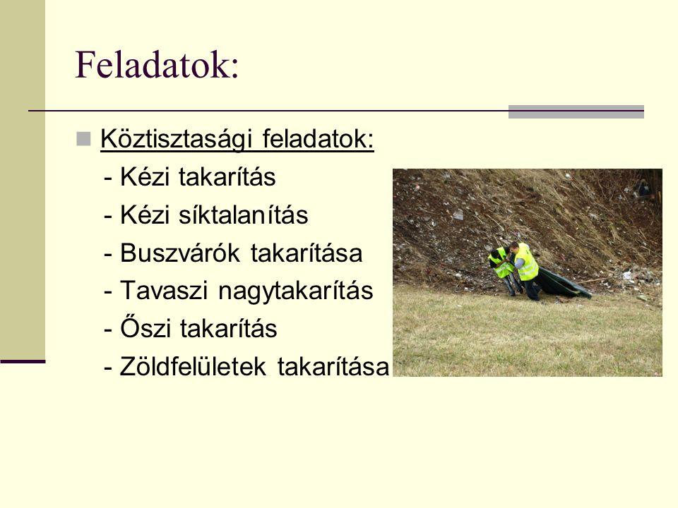 Feladatok: Köztisztasági feladatok: - Kézi takarítás - Kézi síktalanítás - Buszvárók takarítása - Tavaszi nagytakarítás - Őszi takarítás - Zöldfelületek takarítása