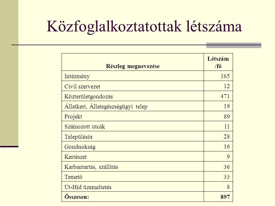 Közfoglalkoztatottak létszáma Részleg megnevezése Létszám /fő Intézmény 165 Civil szervezet 12 Közterületgondozás 471 Állatkert, Állategészségügyi tel