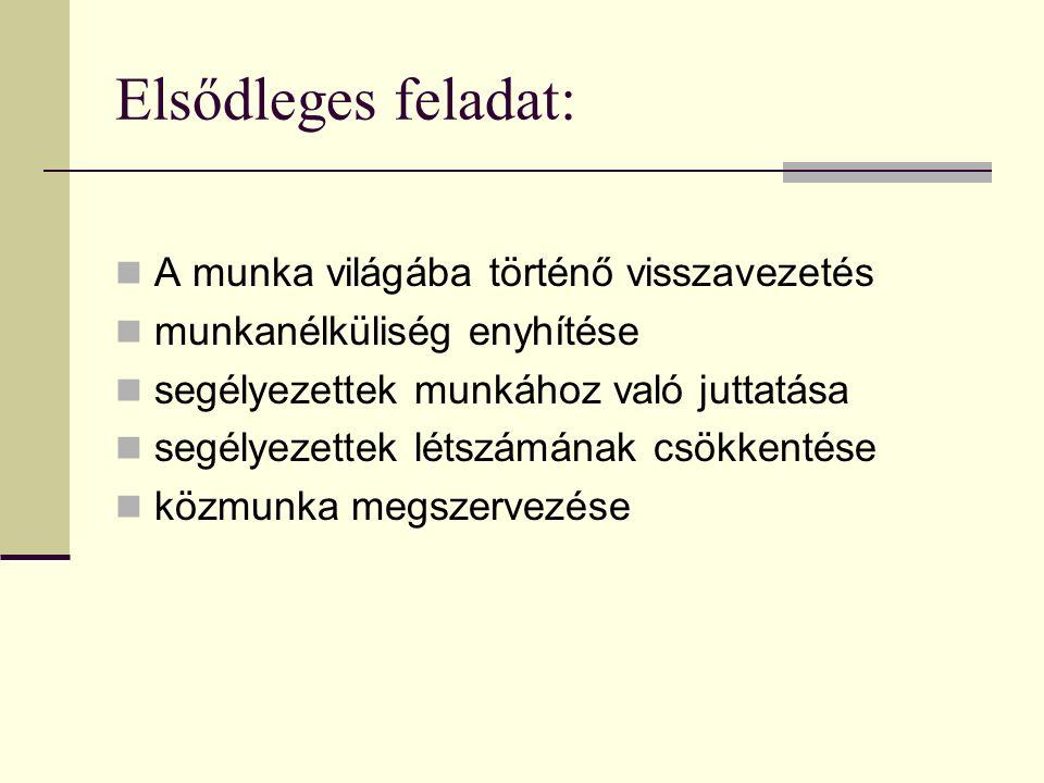 Közfoglalkoztatás megszervezése, irányítása Közfoglalkoztatási terv: - Az 1993.