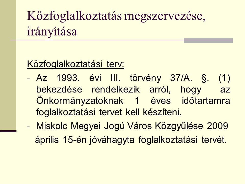 Közfoglalkoztatás megszervezése, irányítása Közfoglalkoztatási terv: - Az 1993. évi III. törvény 37/A. §. (1) bekezdése rendelkezik arról, hogy az Önk