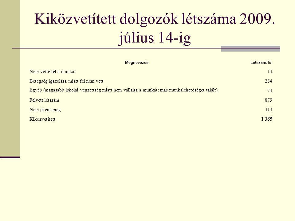 Kiközvetített dolgozók létszáma 2009. július 14-ig MegnevezésLétszám/fő Nem vette fel a munkát14 Betegség igazolása miatt fel nem vett284 Egyéb (magas