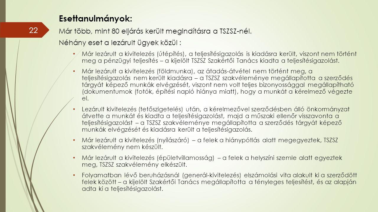 Esettanulmányok: Már több, mint 80 eljárás került megindításra a TSZSZ-nél.