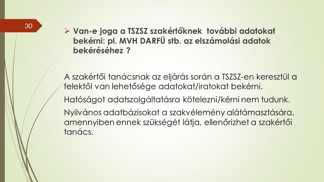  Van-e joga a TSZSZ szakértőknek további adatokat bekérni: pl.