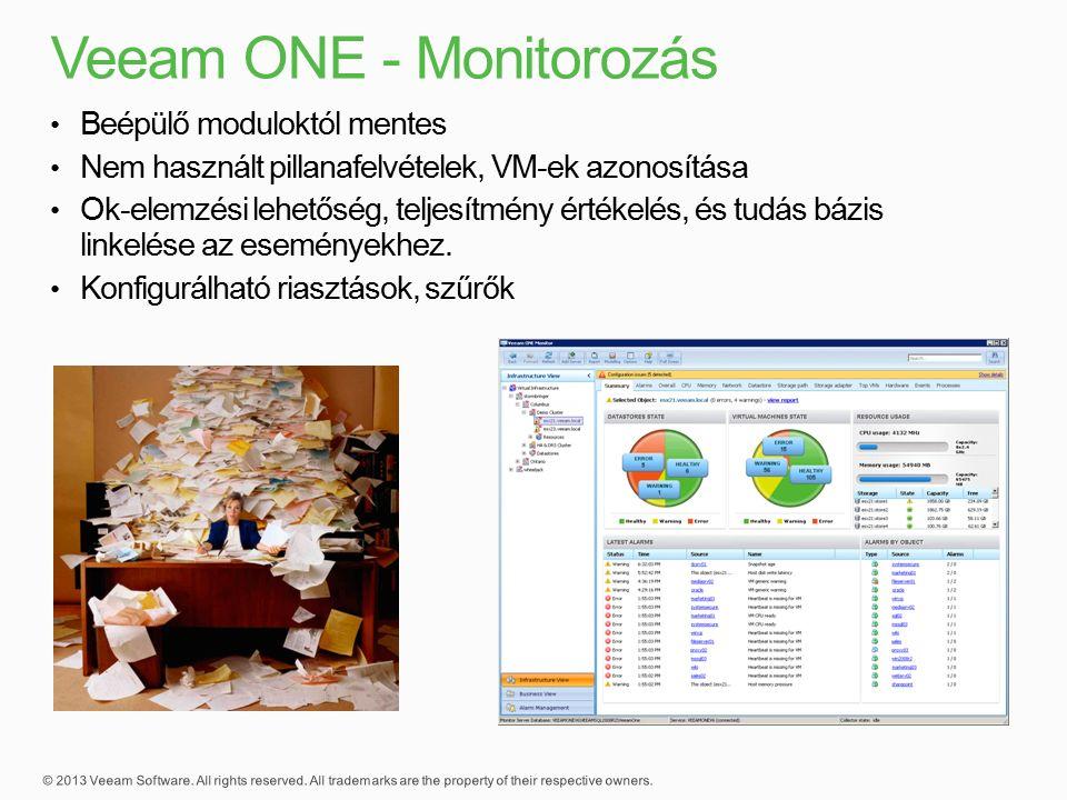 Beépülő moduloktól mentes Nem használt pillanafelvételek, VM-ek azonosítása Ok-elemzési lehetőség, teljesítmény értékelés, és tudás bázis linkelése az eseményekhez.