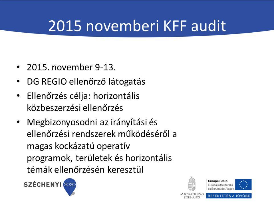 2015 novemberi KFF audit 2015. november 9-13. DG REGIO ellenőrző látogatás Ellenőrzés célja: horizontális közbeszerzési ellenőrzés Megbizonyosodni az