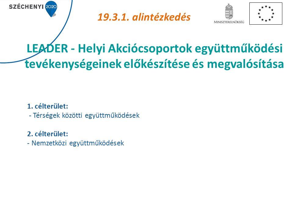 LEADER - Helyi Akciócsoportok együttműködési tevékenységeinek előkészítése és megvalósítása 19.3.1.
