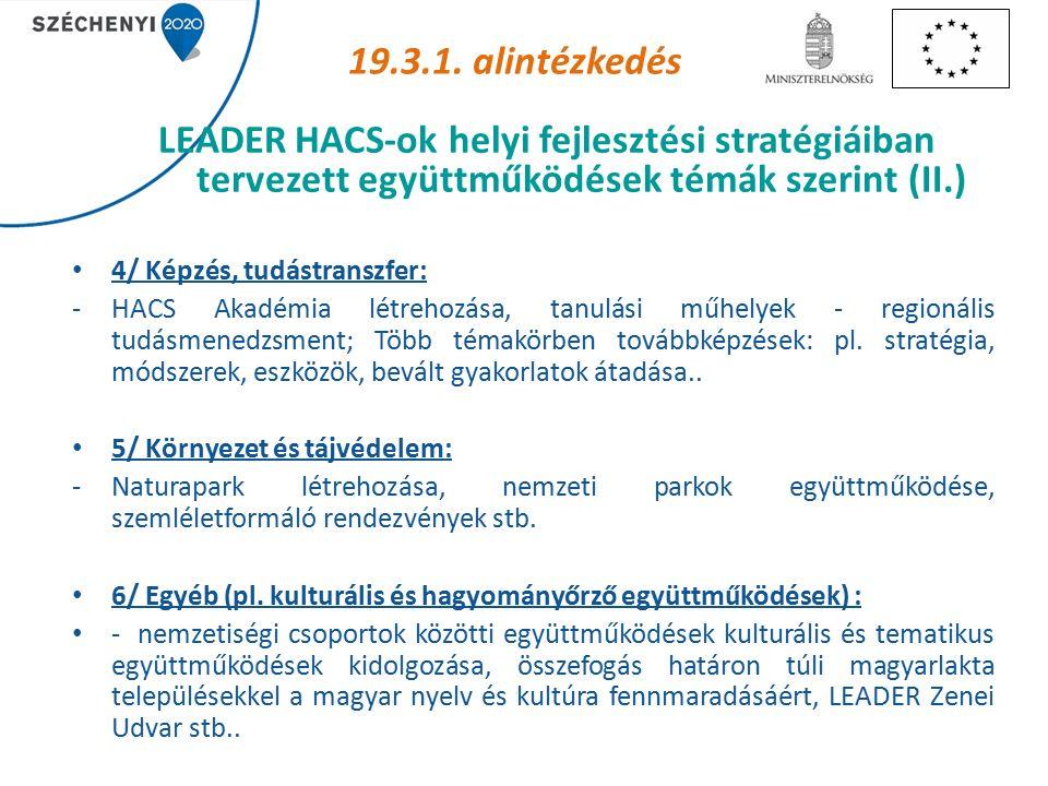4/ Képzés, tudástranszfer: -HACS Akadémia létrehozása, tanulási műhelyek - regionális tudásmenedzsment; Több témakörben továbbképzések: pl.