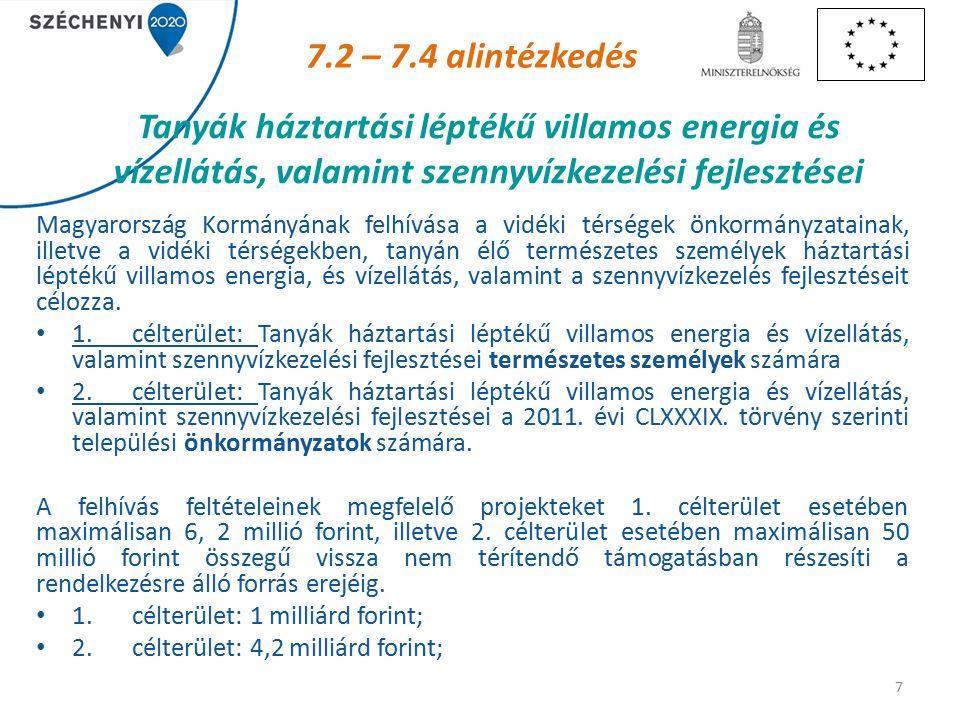 Tanyák háztartási léptékű villamos energia és vízellátás, valamint szennyvízkezelési fejlesztései 7 7.2 – 7.4 alintézkedés Magyarország Kormányának felhívása a vidéki térségek önkormányzatainak, illetve a vidéki térségekben, tanyán élő természetes személyek háztartási léptékű villamos energia, és vízellátás, valamint a szennyvízkezelés fejlesztéseit célozza.