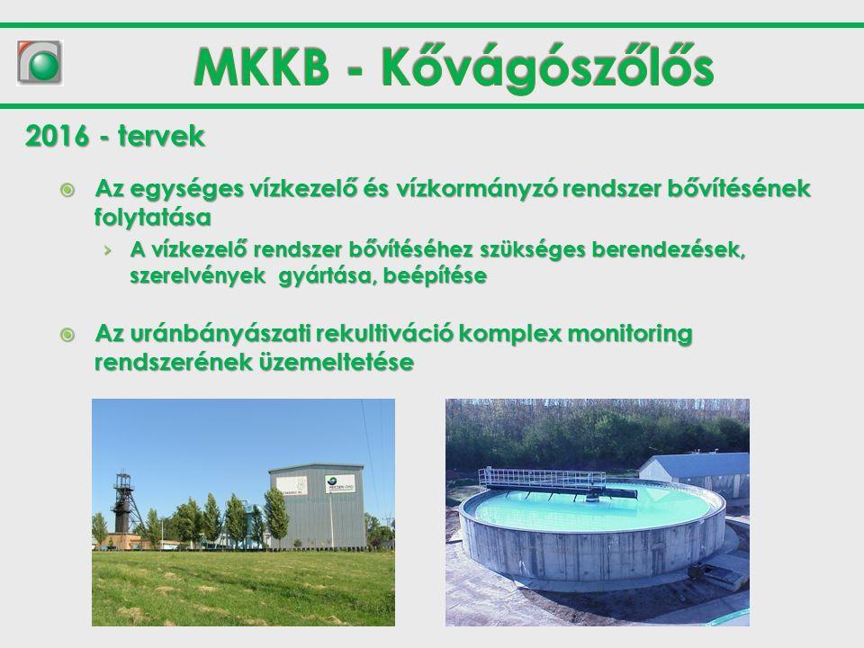  Az egységes vízkezelő és vízkormányzó rendszer bővítésének folytatása › A vízkezelő rendszer bővítéséhez szükséges berendezések, szerelvények gyártása, beépítése  Az uránbányászati rekultiváció komplex monitoring rendszerének üzemeltetése 2016 - tervek