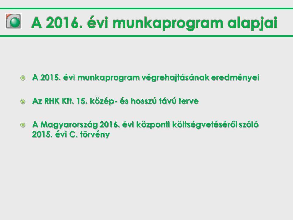  A 2015. évi munkaprogram végrehajtásának eredményei  Az RHK Kft.