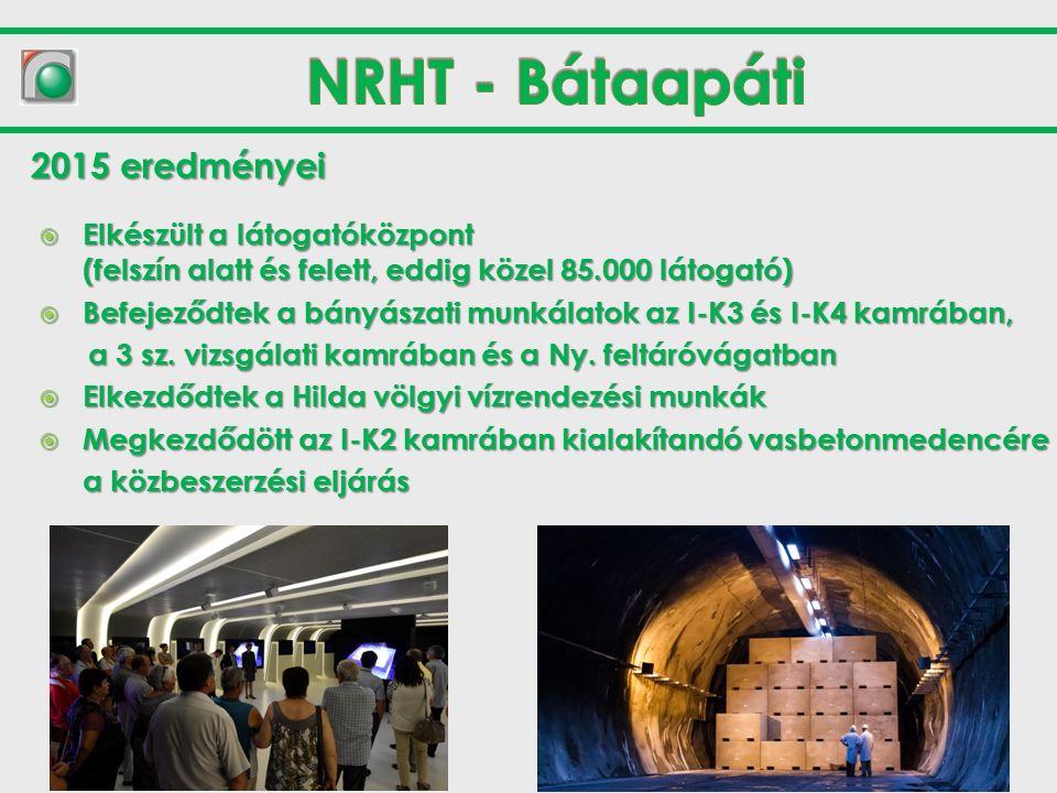  Elkészült a látogatóközpont (felszín alatt és felett, eddig közel 85.000 látogató)  Befejeződtek a bányászati munkálatok az I-K3 és I-K4 kamrában, a 3 sz.