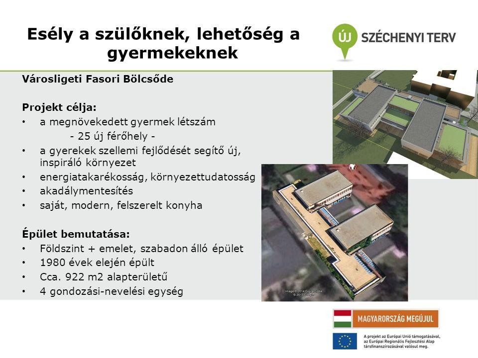 Városligeti Fasori Bölcsőde Projekt célja: a megnövekedett gyermek létszám - 25 új férőhely - a gyerekek szellemi fejlődését segítő új, inspiráló környezet energiatakarékosság, környezettudatosság akadálymentesítés saját, modern, felszerelt konyha Épület bemutatása: Földszint + emelet, szabadon álló épület 1980 évek elején épült Cca.