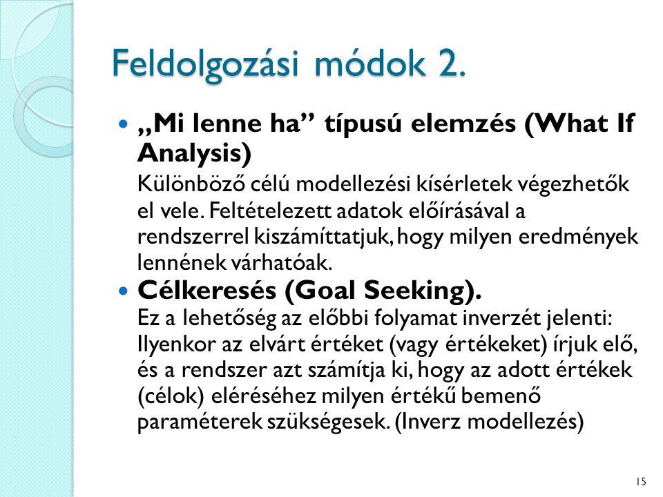 """Feldolgozási módok 2. """"Mi lenne ha"""" típusú elemzés (What If Analysis) Különböző célú modellezési kísérletek végezhetők el vele. Feltételezett adatok e"""