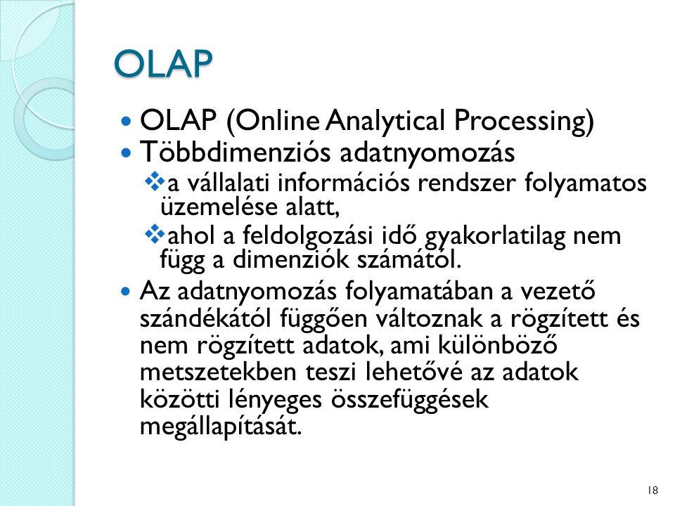 OLAP OLAP (Online Analytical Processing) Többdimenziós adatnyomozás  a vállalati információs rendszer folyamatos üzemelése alatt,  ahol a feldolgozá
