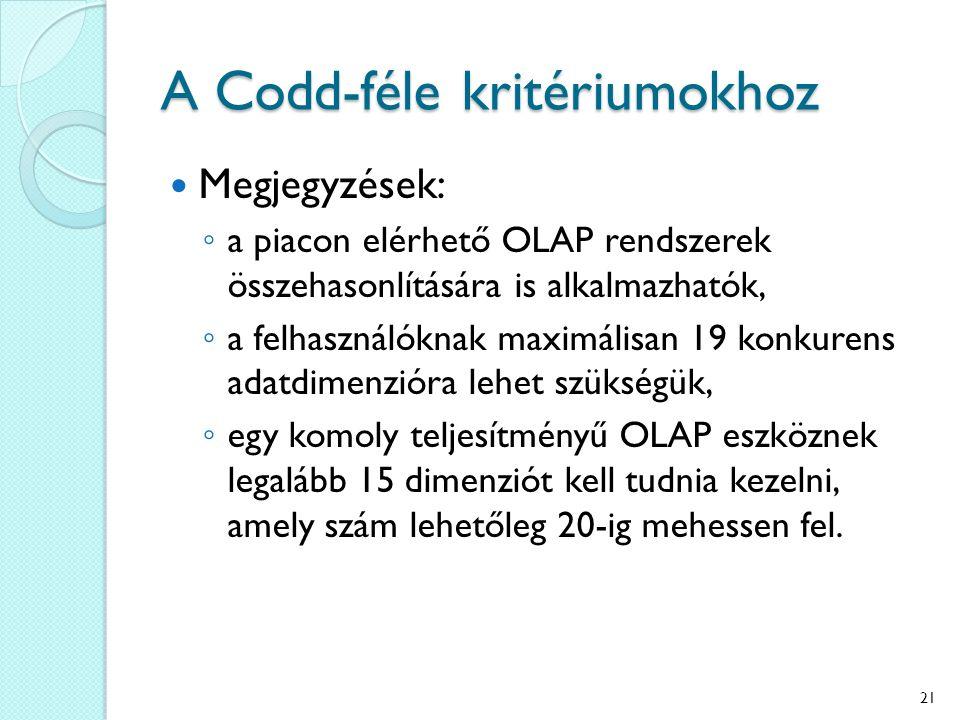 A Codd-féle kritériumokhoz Megjegyzések: ◦ a piacon elérhető OLAP rendszerek összehasonlítására is alkalmazhatók, ◦ a felhasználóknak maximálisan 19 k