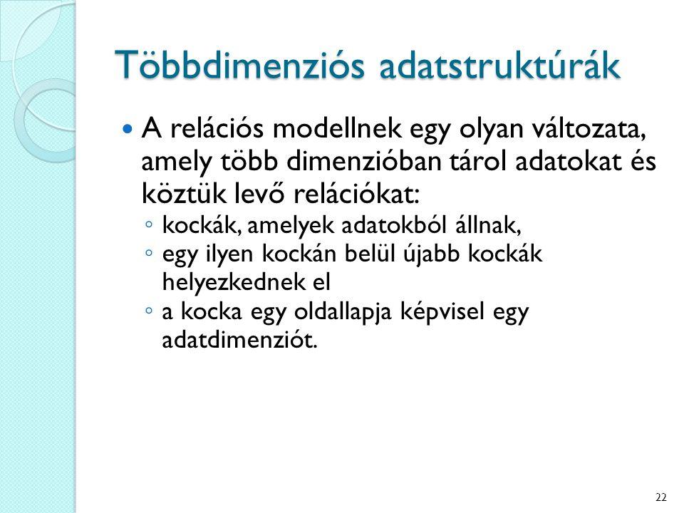 Többdimenziós adatstruktúrák A relációs modellnek egy olyan változata, amely több dimenzióban tárol adatokat és köztük levő relációkat: ◦ kockák, amel