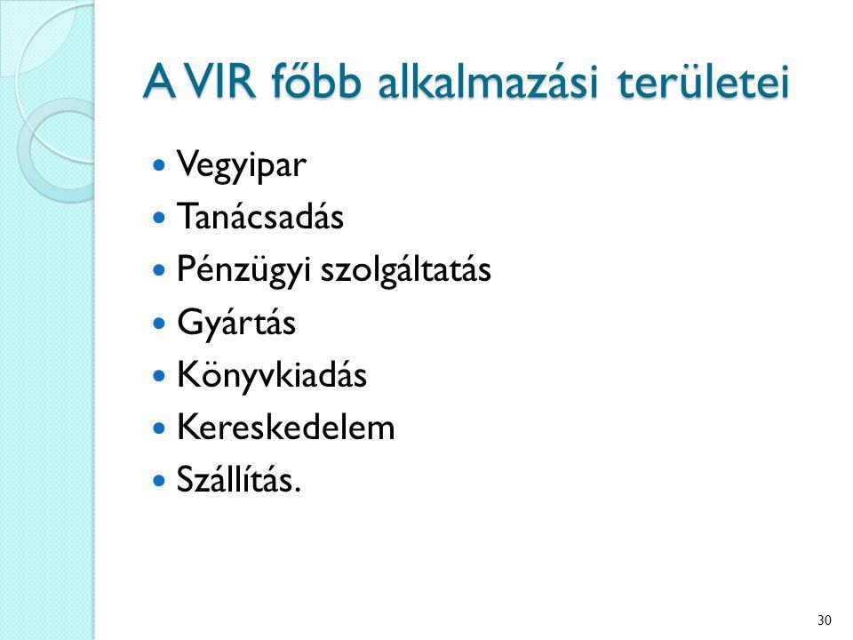 A VIR főbb alkalmazási területei Vegyipar Tanácsadás Pénzügyi szolgáltatás Gyártás Könyvkiadás Kereskedelem Szállítás. 30