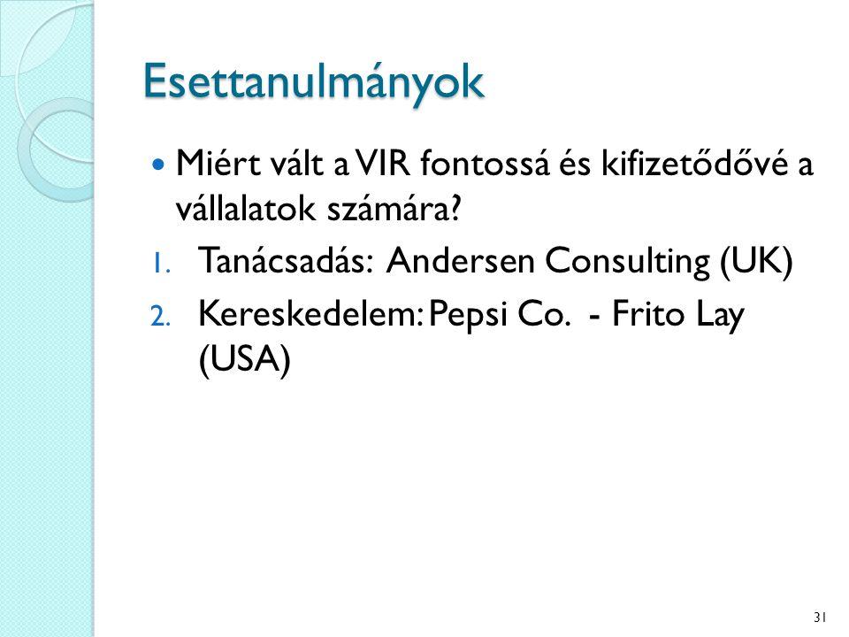 Esettanulmányok Miért vált a VIR fontossá és kifizetődővé a vállalatok számára? 1. Tanácsadás: Andersen Consulting (UK) 2. Kereskedelem: Pepsi Co. - F