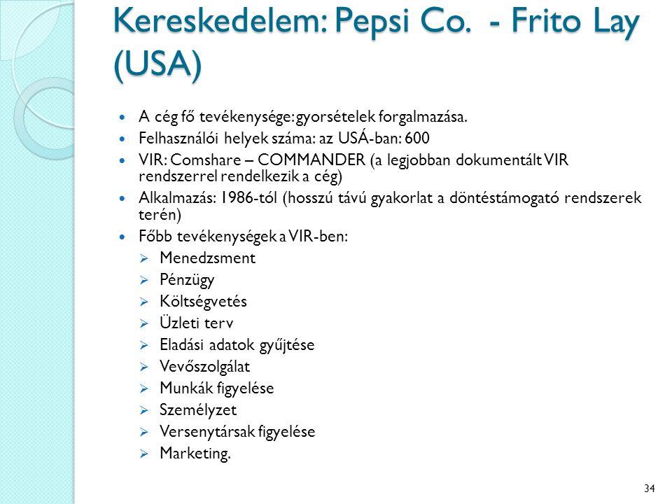 Kereskedelem: Pepsi Co. - Frito Lay (USA) A cég fő tevékenysége: gyorsételek forgalmazása. Felhasználói helyek száma: az USÁ-ban: 600 VIR: Comshare –