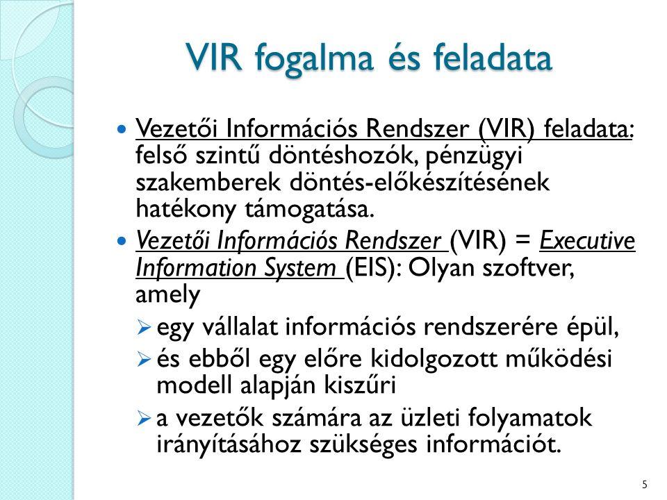 Vezetői Információs Rendszer (VIR) feladata: felső szintű döntéshozók, pénzügyi szakemberek döntés-előkészítésének hatékony támogatása. Vezetői Inform