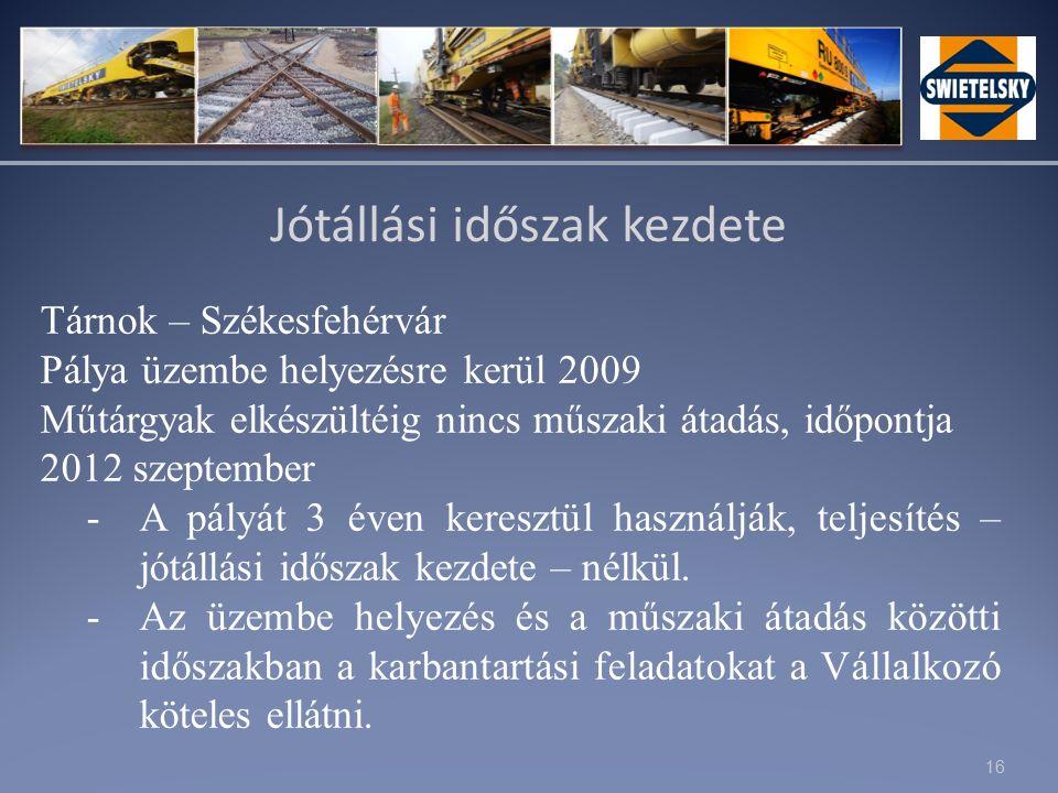 16 Jótállási időszak kezdete Tárnok – Székesfehérvár Pálya üzembe helyezésre kerül 2009 Műtárgyak elkészültéig nincs műszaki átadás, időpontja 2012 szeptember -A pályát 3 éven keresztül használják, teljesítés – jótállási időszak kezdete – nélkül.
