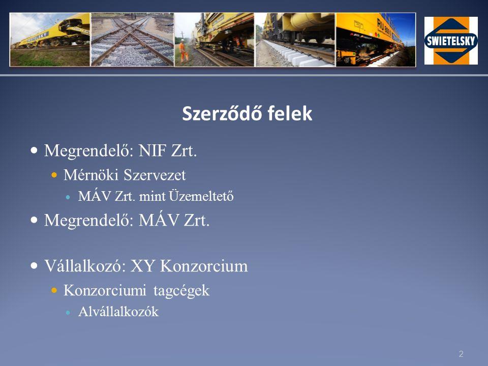 2 Szerződő felek Megrendelő: NIF Zrt. Mérnöki Szervezet MÁV Zrt.