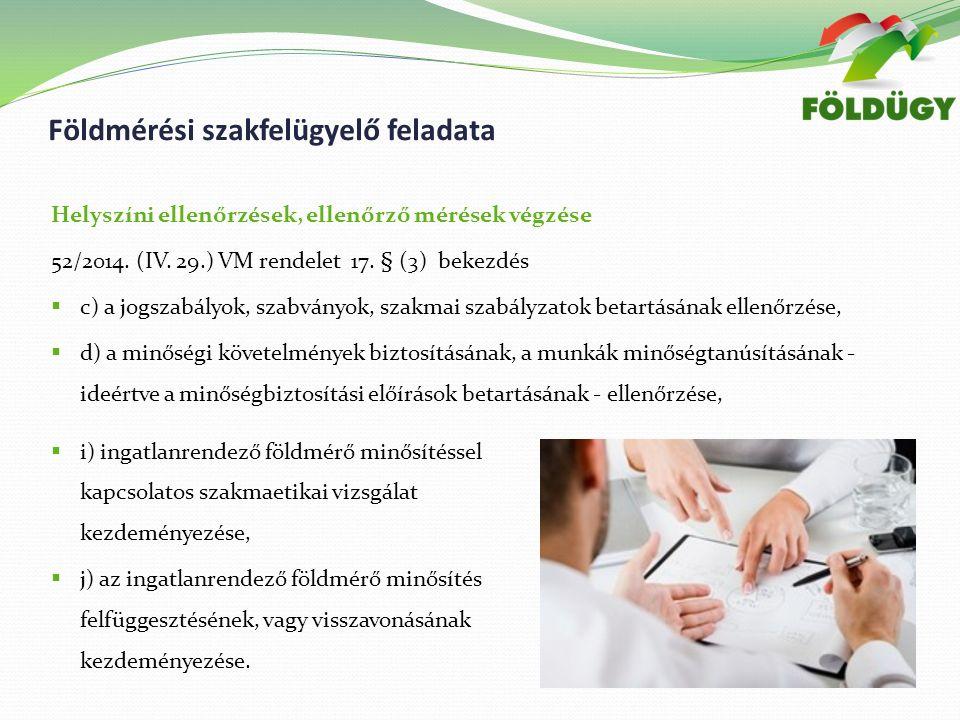 Helyszíni ellenőrzések, ellenőrző mérések végzése 52/2014.