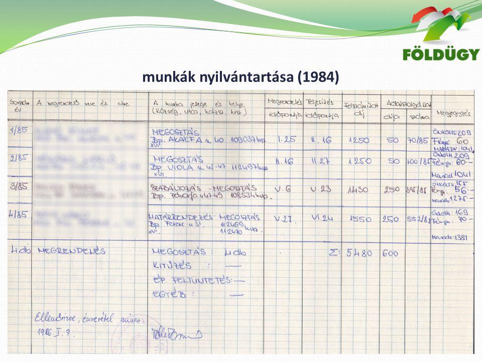 munkák nyilvántartása (1984)