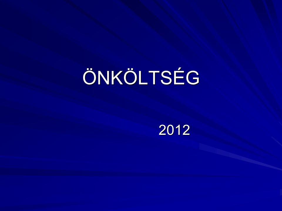 ÖNKÖLTSÉG 2012 2012