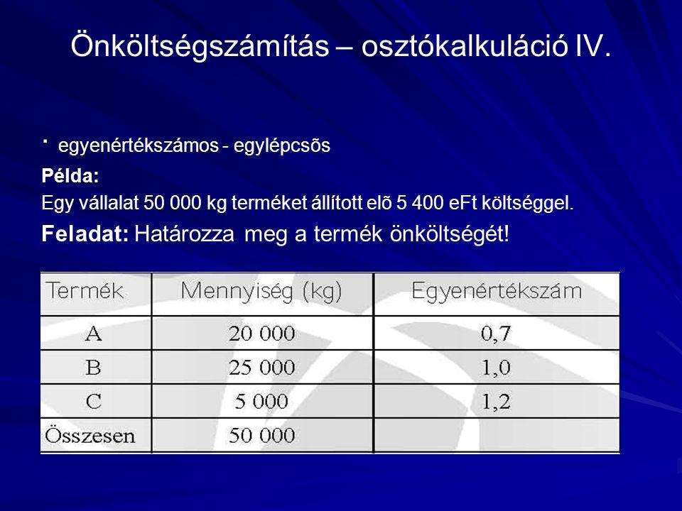 Önköltségszámítás – osztókalkuláció IV.