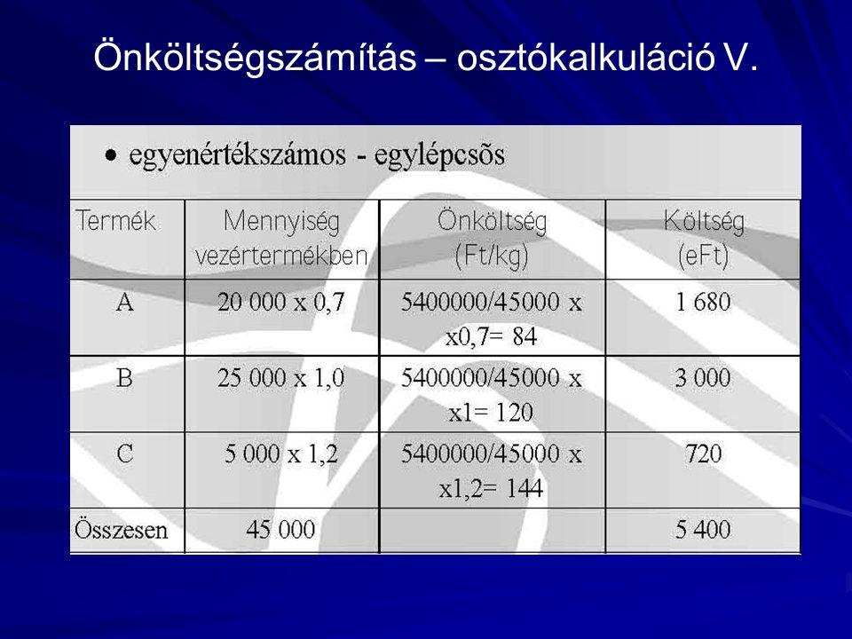 Önköltségszámítás – osztókalkuláció V.