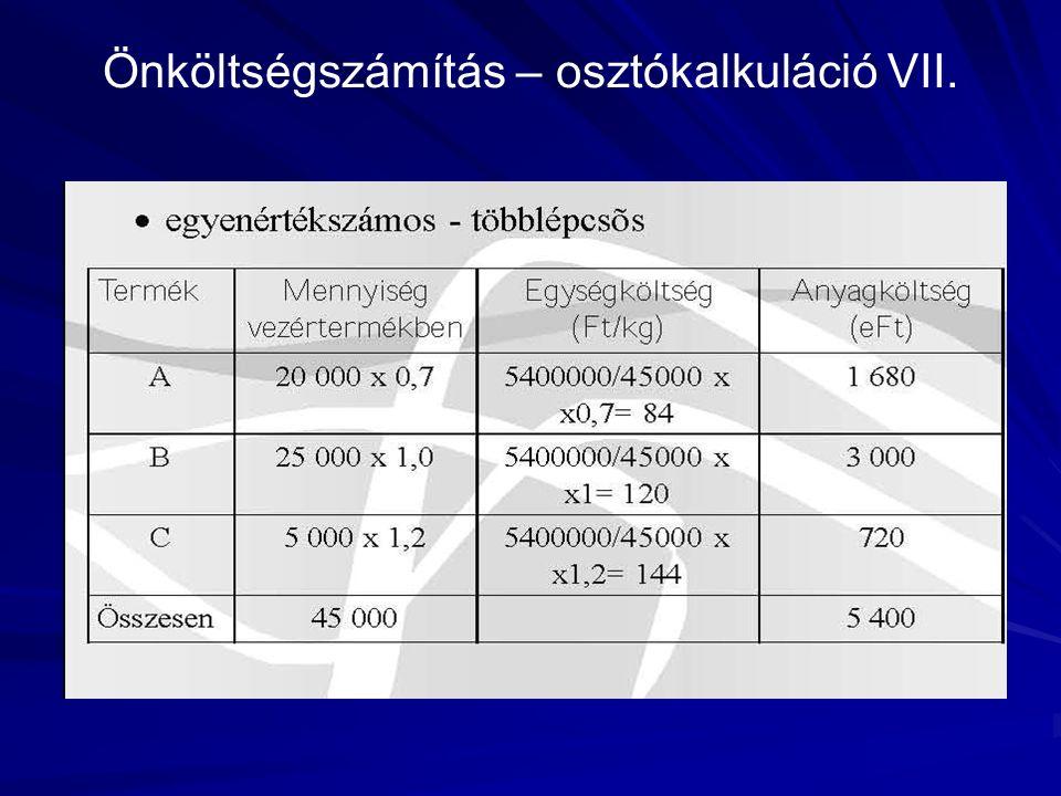 Önköltségszámítás – osztókalkuláció VII.