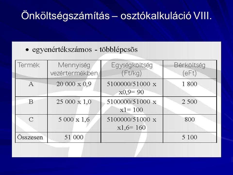 Önköltségszámítás – osztókalkuláció VIII.