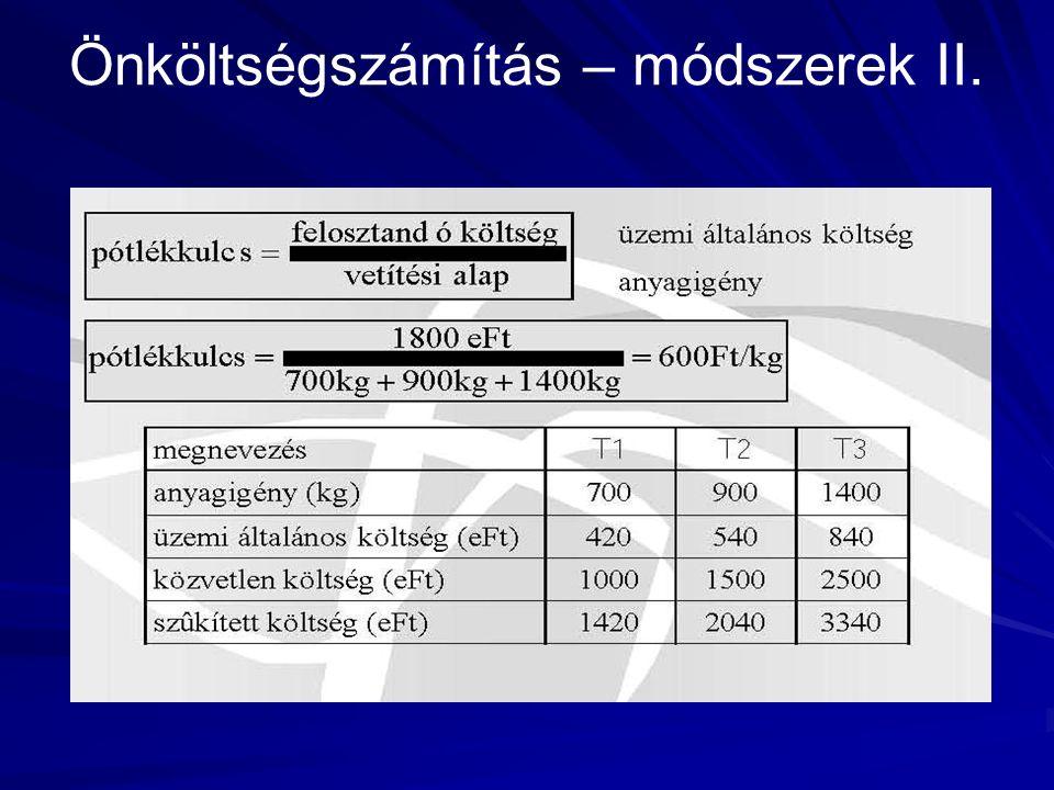 Önköltségszámítás – módszerek II.
