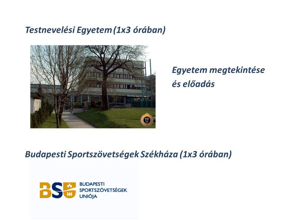 Testnevelési Egyetem (1x3 órában) Egyetem megtekintése és előadás Budapesti Sportszövetségek Székháza (1x3 órában)