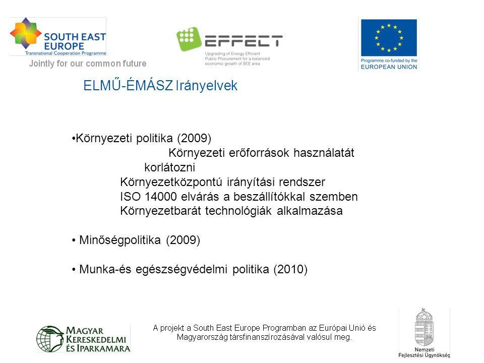 ELMŰ-ÉMÁSZ Irányelvek Környezeti politika (2009) Környezeti erőforrások használatát korlátozni Környezetközpontú irányítási rendszer ISO 14000 elvárás a beszállítókkal szemben Környezetbarát technológiák alkalmazása Minőségpolitika (2009) Munka-és egészségvédelmi politika (2010)