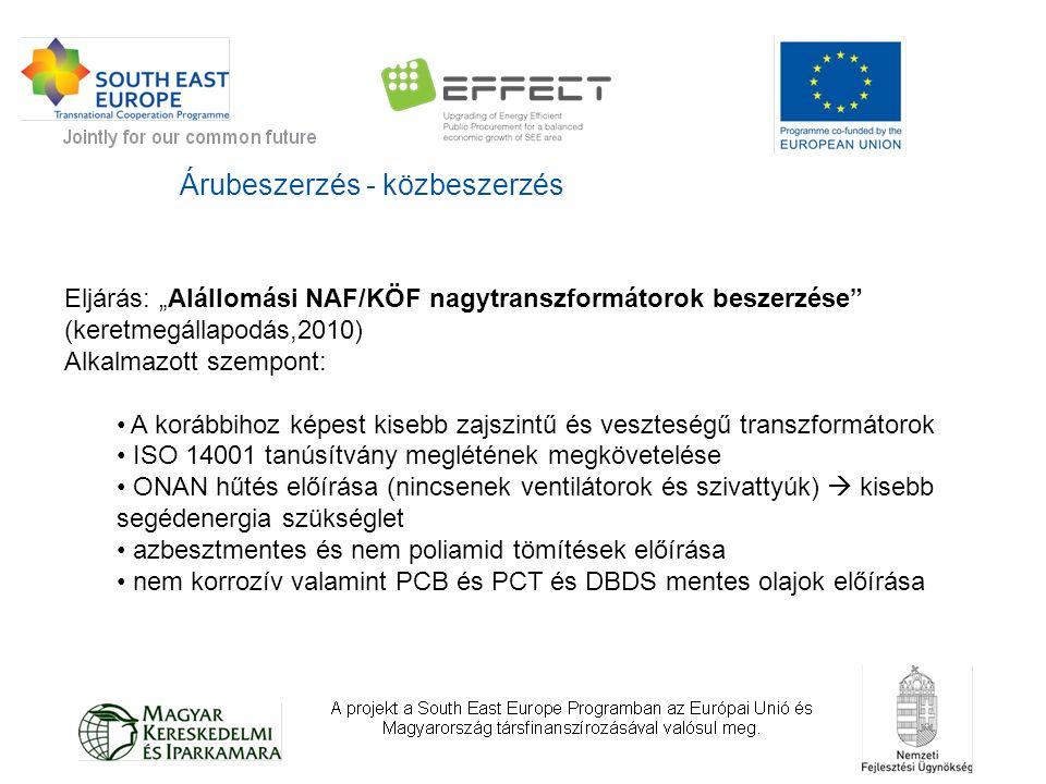 Árubeszerzés - közbeszerzés 2010-es pilot projekt 2011-ben a megtakarítás: CO 2 kb.