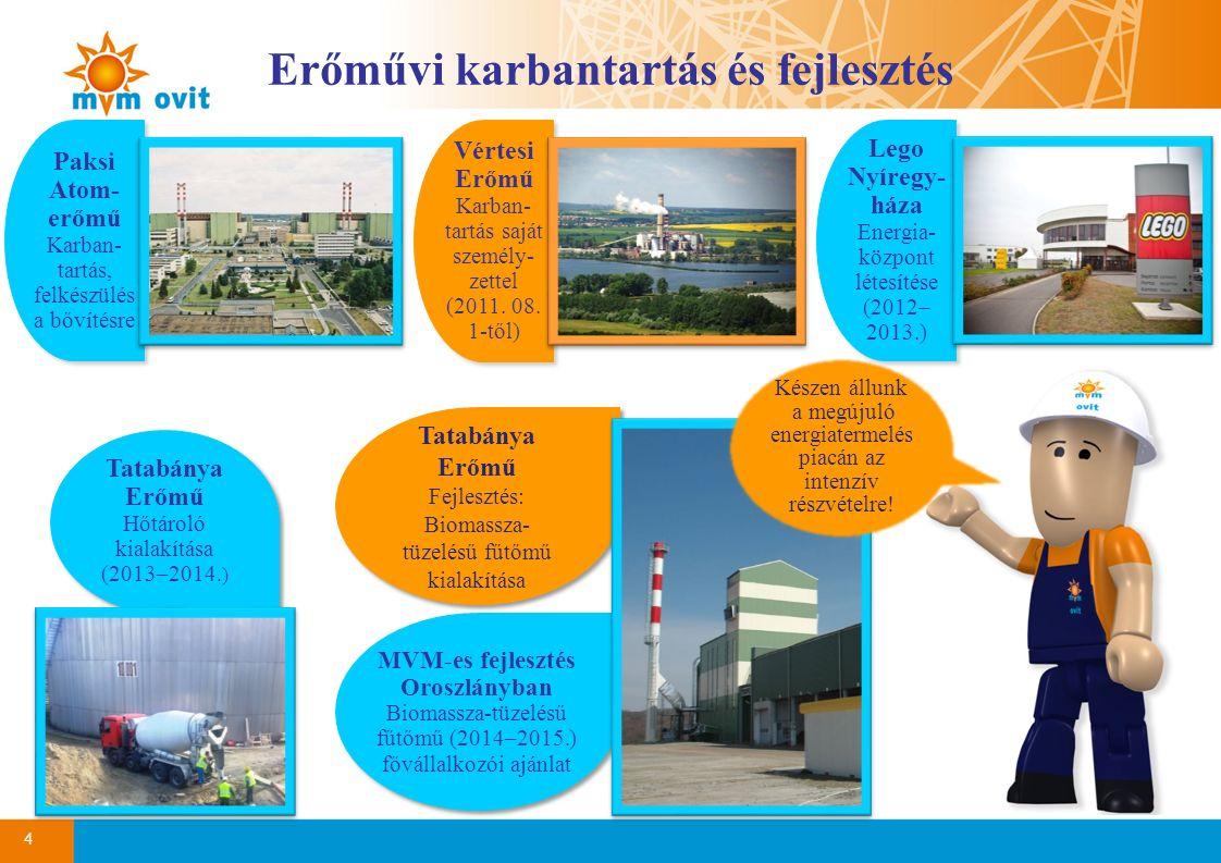 Erőművi karbantartás és fejlesztés 4 Vértesi Erőmű Karban- tartás saját személy- zettel (2011. 08. 1-től) Vértesi Erőmű Karban- tartás saját személy-