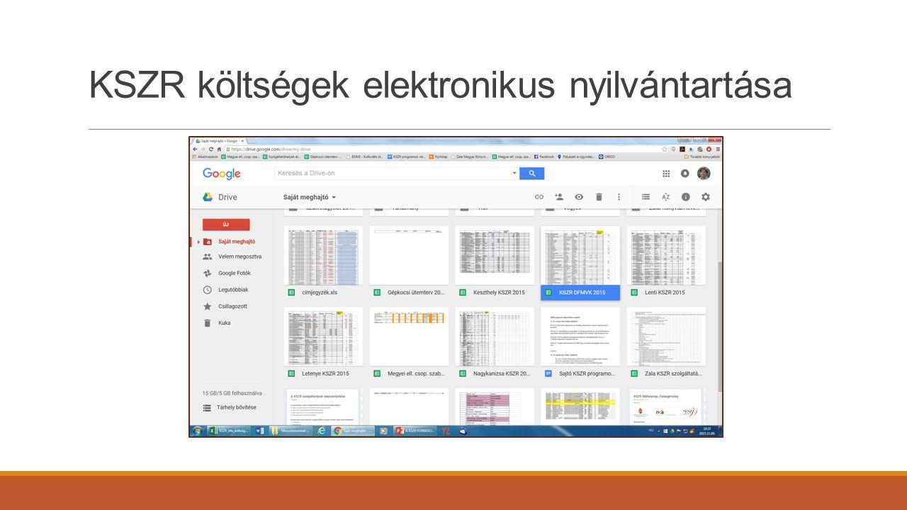 KSZR költségek elektronikus nyilvántartása