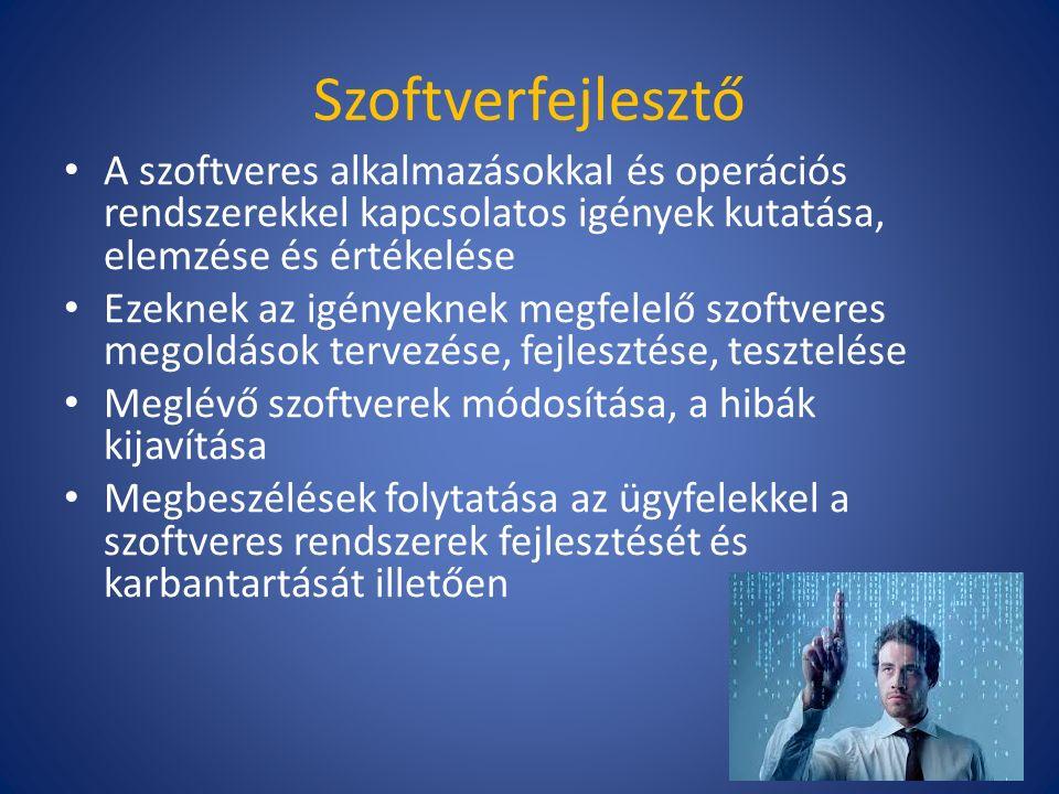 Szoftverfejlesztő A szoftveres alkalmazásokkal és operációs rendszerekkel kapcsolatos igények kutatása, elemzése és értékelése Ezeknek az igényeknek megfelelő szoftveres megoldások tervezése, fejlesztése, tesztelése Meglévő szoftverek módosítása, a hibák kijavítása Megbeszélések folytatása az ügyfelekkel a szoftveres rendszerek fejlesztését és karbantartását illetően