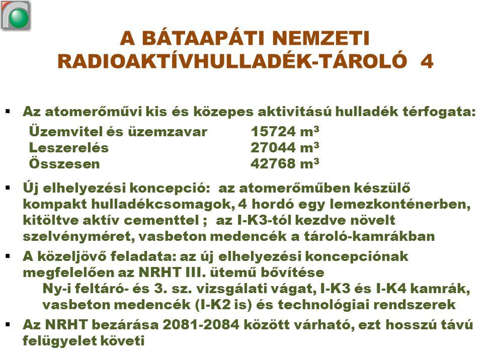  Az atomerőművi kis és közepes aktivitású hulladék térfogata: Üzemvitel és üzemzavar 15724 m 3 Leszerelés 27044 m 3 Összesen 42768 m 3  Új elhelyezé