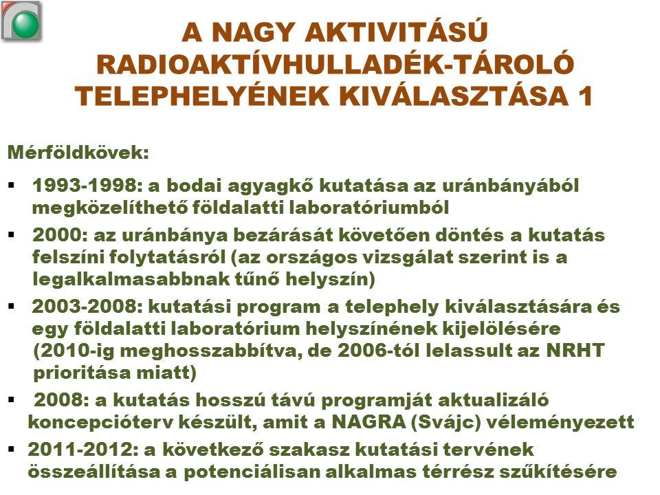 Mérföldkövek:  1993-1998: a bodai agyagkő kutatása az uránbányából megközelíthető földalatti laboratóriumból  2000: az uránbánya bezárását követően döntés a kutatás felszíni folytatásról (az országos vizsgálat szerint is a legalkalmasabbnak tűnő helyszín)  2003-2008: kutatási program a telephely kiválasztására és egy földalatti laboratórium helyszínének kijelölésére (2010-ig meghosszabbítva, de 2006-tól lelassult az NRHT prioritása miatt)  2008: a kutatás hosszú távú programját aktualizáló koncepcióterv készült, amit a NAGRA (Svájc) véleményezett  2011-2012: a következő szakasz kutatási tervének összeállítása a potenciálisan alkalmas térrész szűkítésére A NAGY AKTIVITÁSÚ RADIOAKTÍVHULLADÉK-TÁROLÓ TELEPHELYÉNEK KIVÁLASZTÁSA 1
