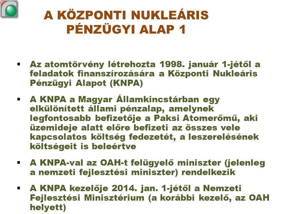 A KÖZPONTI NUKLEÁRIS PÉNZÜGYI ALAP 1  Az atomtörvény létrehozta 1998. január 1-jétől a feladatok finanszírozására a Központi Nukleáris Pénzügyi Alapo