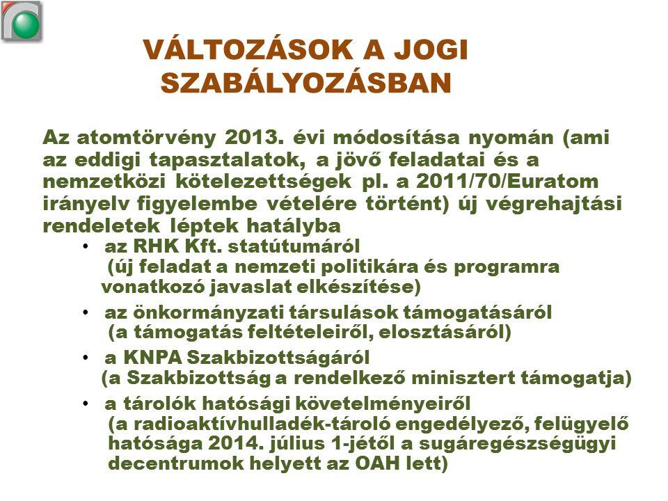 VÁLTOZÁSOK A JOGI SZABÁLYOZÁSBAN Az atomtörvény 2013. évi módosítása nyomán (ami az eddigi tapasztalatok, a jövő feladatai és a nemzetközi kötelezetts