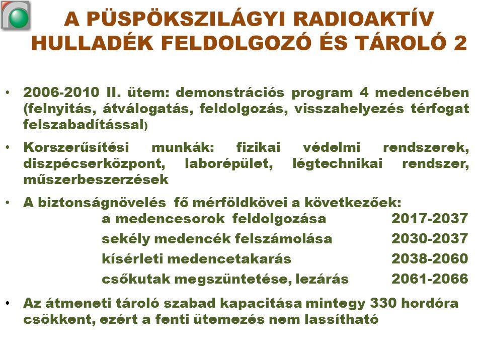 2006-2010 II. ütem: demonstrációs program 4 medencében (felnyitás, átválogatás, feldolgozás, visszahelyezés térfogat felszabadítással ) Korszerűsítési