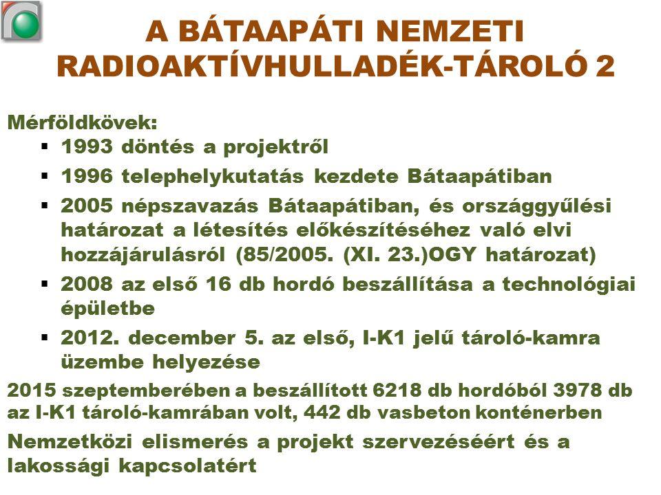 Mérföldkövek:  1993 döntés a projektről  1996 telephelykutatás kezdete Bátaapátiban  2005 népszavazás Bátaapátiban, és országgyűlési határozat a lé